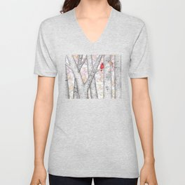 cardinals and birch trees Unisex V-Neck