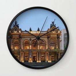 Theatro Municipal In Sao Paulo Wall Clock