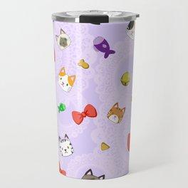 Cat Pattern Purple Travel Mug