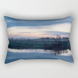 Sunset over a spring river Biebrza in Poland Rectangular Pillow