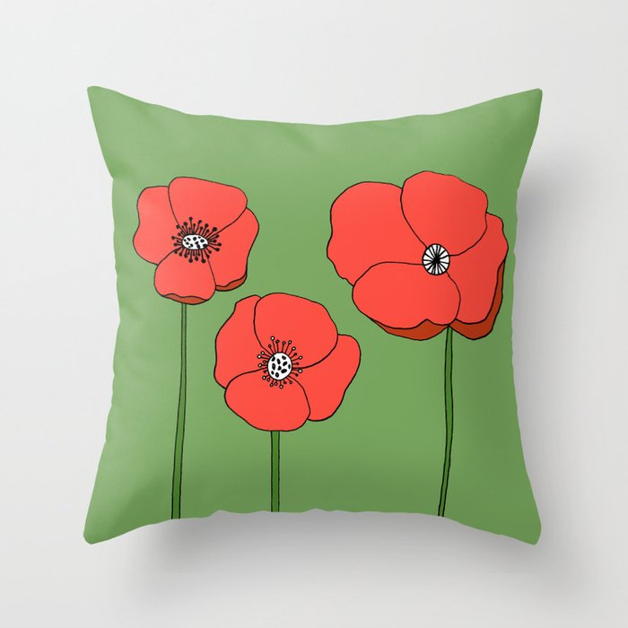 Red Poppies by Emma Freeman Designs Throw Pillow