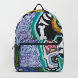 Turquoise Day of the Dead Cat Backpack