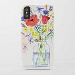 Poppy bouquet in a mason jar iPhone Case