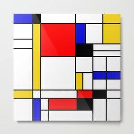 Bauhouse Composition Mondrian Style Metal Print