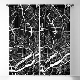 Street MAP Frankfurt // Black&White Blackout Curtain