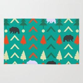 Winter bear pattern in green Rug