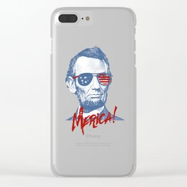Abraham Lincoln Merica design - NYE of 4th July Clothing Clear iPhone Case