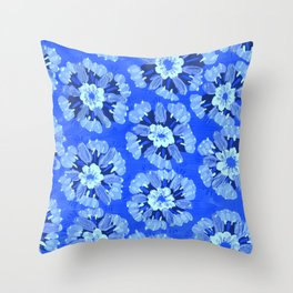 Blue Dakota Rose Throw Pillow