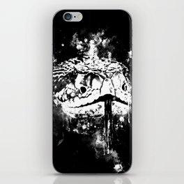 rattlesnake close up splatter watercolor black white iPhone Skin