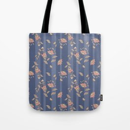Retro . Floral pattern on a blue striped background . Tote Bag