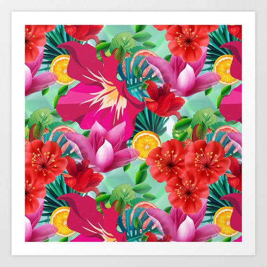 Tropical Summer Flower And Fruit Pattern Art Print