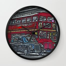 London bus and cab Wall Clock