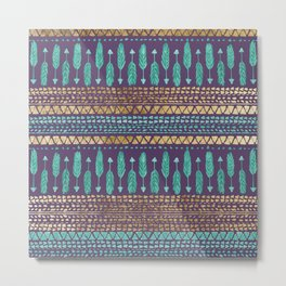Gold Teal and Purple Arrows Tribal Aztec Pattern Metal Print