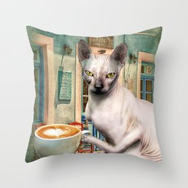 Sphynx Hairless Cat With Coffee Throw Pillow