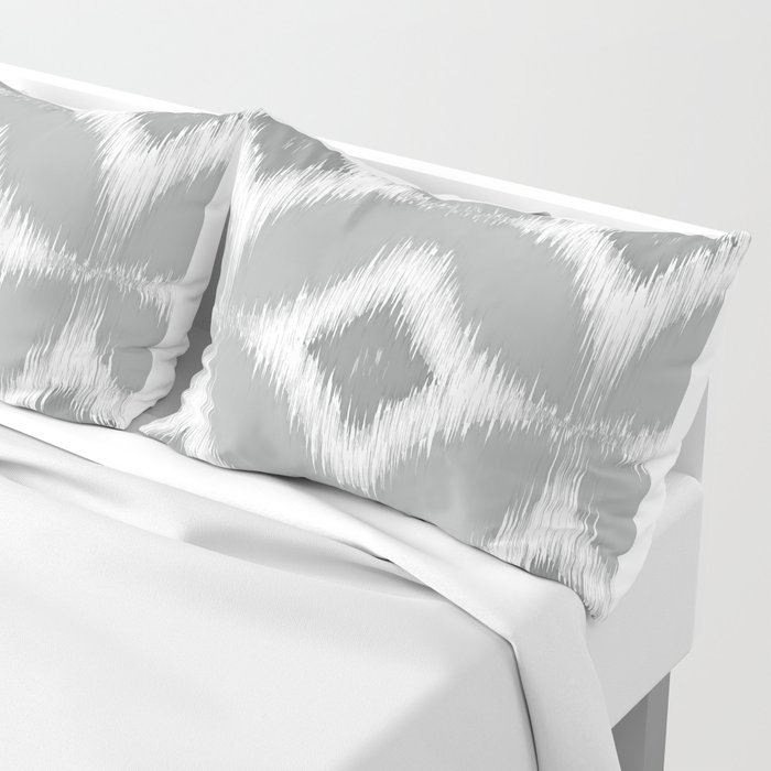Elegant White Gray Retro Circles Squares Ikat Pattern Pillow Sham