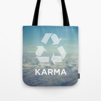 karma Tote Bags featuring karma by katieswanson.design