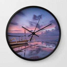 Sunrise at Karang beach, Sanur, Bali, Indonesia Wall Clock