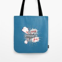 wreck it ralph Tote Bags featuring You're one dynamite Gal.. funny disney pixar.. wreck it ralph quote by studiomarshallarts