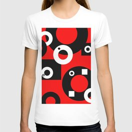 Black white Rings red background T-shirt