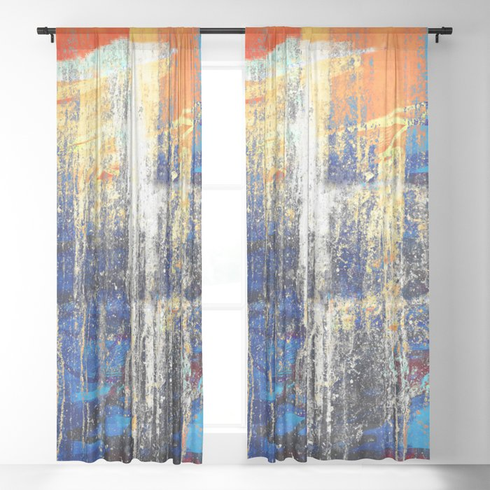 Golden Dawn, Abstract Landscape Art Sheer Curtain