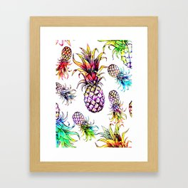 colorful pineapple drawing pattern Framed Art Print