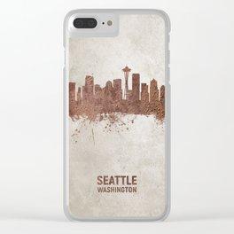 Seattle Washington Rust Skyline Clear iPhone Case