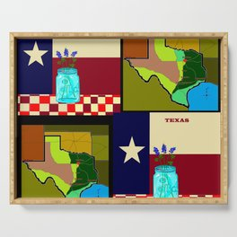 A Texas Quilt, State Flag and Blue Bonnets Serving Tray