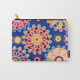 Optical Floral royal blue Carry-All Pouch