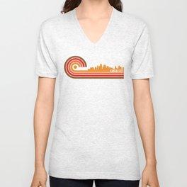 Retro Style Kansas City Kansas Skyline Unisex V-Neck