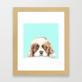 Cavalier King Charles Spaniel Dog Watercolor Pet Portrait Framed Art Print