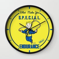 fallout Wall Clocks featuring Endurance S.P.E.C.I.A.L. Fallout 4 by sgrunfo