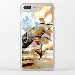 Giraffes in the Shadow of Fall Leaves Clear iPhone Case