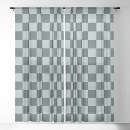 Checkerboard Pattern Inspired By Night Watch PPG1145-7 & Blue Willow Green PPG1145-4 Sheer Curtain