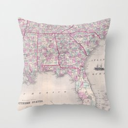 Vintage Map of The Southern United States (1868) Throw Pillow