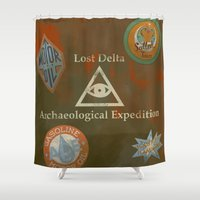 indiana jones Shower Curtains featuring Indiana Jones Adventure by Rob Yeo Design