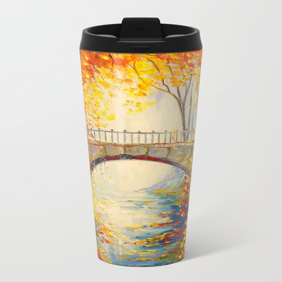 Autumn near the bridge Metal Travel Mug