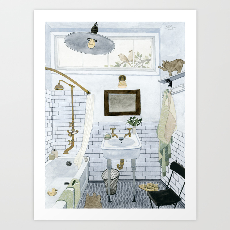 In The Bathroom Art Print By Yuliya, Bathroom Art Print