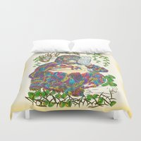 sia Duvet Covers featuring Vibrant Jungle Gorilla and Pet Cat by famenxt