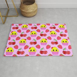 Cute funny sweet adorable happy little yellow baby cupcakes, little cherries and red ripe summer strawberries cartoon fantasy light pastel pink pattern design Rug