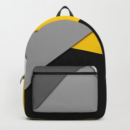 Simple Modern Gray Yellow and Black Geometric Backpack