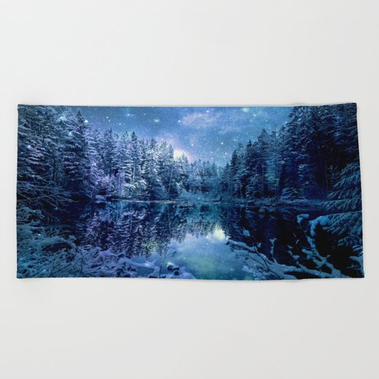 Magical Wintry Forest Beach Towel