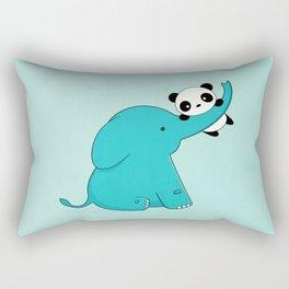 Kawaii Cute Panda and Elephant Rectangular Pillow
