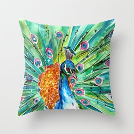 Vibrant Peacock Throw Pillow