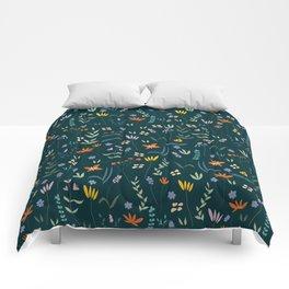 Retro Botanical Dark Comforters