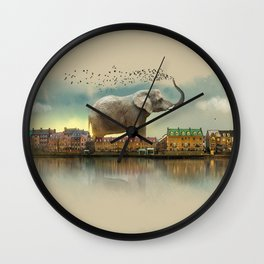 Travelling elephant Wall Clock