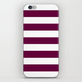 Tyrian purple - solid color - white stripes pattern iPhone Skin