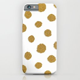 Golden touch III - Gold glitter effect polka dot pattern iPhone Case