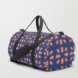 Copper Beetle on Navy Background Duffle Bag