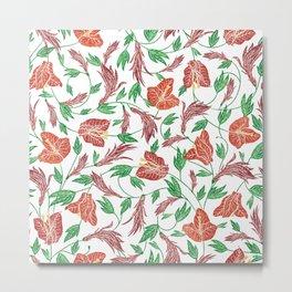 Rust red tropical flowers pattern Metal Print