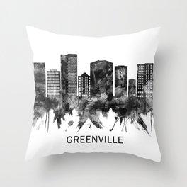 Greenville South Carolina Skyline BW Throw Pillow